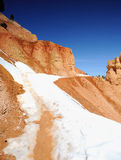 Snow covered hiking trail - Bryce Canyon NP Stock Photography