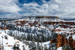 Snow covered hills and forest in Bryce Canyon, Utah. stock images