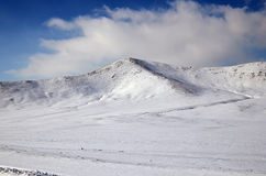 Snow-covered hills. Mongolian winter landscape Royalty Free Stock Photo
