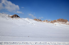 Snow-covered hills. Mongolian winter landscape Stock Photos