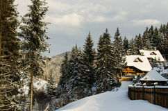 Snow-covered hotel in the beautiful winter Carpathian mountains. Ukraine Stock Image