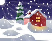 Snow-covered house vector illustration