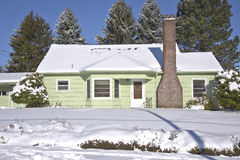 Snow covered house Gresham Oregon. Royalty Free Stock Images