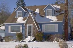 Snow covered house Gresham Oregon. Royalty Free Stock Photos