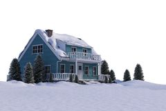 Snow covered house with trees Royalty Free Stock Photography