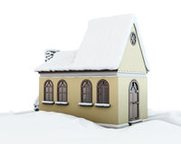 Snow-covered house on white background Royalty Free Stock Photos