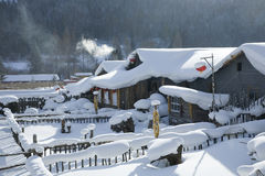 Snow-covered houses Royalty Free Stock Image