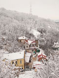 Snow covered houses at the bottom of the hill Stock Photography