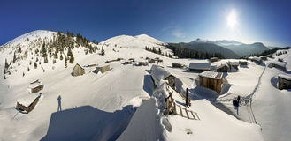 Snow-covered houses in the Carpathians Stock Photography