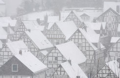 Snow-covered houses in Germany Royalty Free Stock Photography