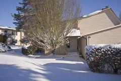 Snow covered houses Gresham Oregon. Stock Images