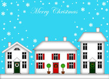 Free Snow-Covered Houses With Christmas Decoration Stock Images - 17272594