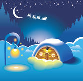 Snow-covered hut. Lit by street lamp, flying sleigh with Santa Clause in starry night sky, vector illustration Stock Images