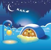 Snow-covered hut royalty-vrije illustratie