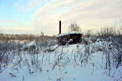 Snow-covered hut. In the winter, Russia Royalty Free Stock Photos
