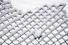 Snow covered ice on fence and leaf Royalty Free Stock Photos
