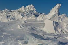 Snow-covered ice hummocks of Lake Baikal Royalty Free Stock Photos