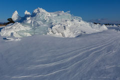 Snow-covered ice hummocks of Lake Baikal Stock Image