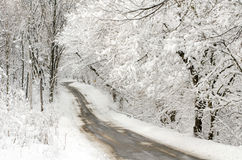 Snow covered indiana road royalty free stock photos