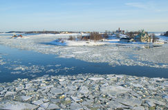 Snow covered islands in the icy Baltic sea royalty free stock photography