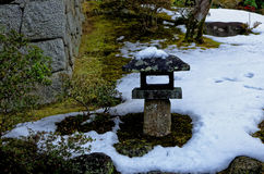 Snow covered Japanese garden, Kyoto Japan Stock Image