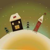 Snow-covered kaart van buitenhuisKerstmis Royalty-vrije Stock Afbeeldingen