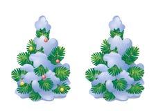 Snow-covered Kerstmisboom royalty-vrije illustratie