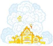 Snow-covered kleine hut Royalty-vrije Stock Afbeelding