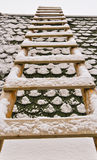 Snow covered ladder Royalty Free Stock Images