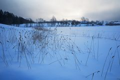Snow covered lake Stock Photo