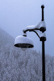 Snow covered lamppost in snow storm turning landscape snowy royalty free stock photography