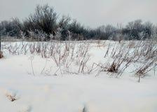 Snow-covered landelijke straat Stock Afbeeldingen