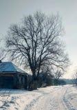 Snow-covered landelijke straat Royalty-vrije Stock Afbeelding