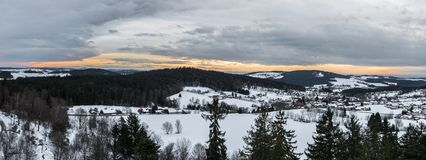 Snow covered Landscape of Bavarian forest with view to the alps, Bavaria, Germany.  royalty free stock photos