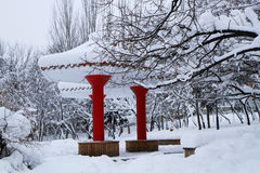 Snow-covered landscape of  Beishan Montain. It the first heavy snow of 2003 in Mudanjiang city , Heilongjiang Province , China . just like a crystal white world Royalty Free Stock Photos