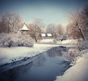 Snow-covered landscape in the city park. Stock Images
