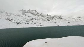 Snow covered landscape with lake stock footage