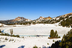 Snow-covered landscape in Lassen Volcanic National Park Stock Image