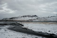 Snaefellsnes, Iceland. A snow covered landscape in the middle of winter in Snaefellsnes, Iceland royalty free stock photography