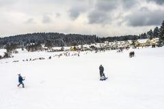 Snow-covered landscape near Koenigstein im Taunus Stock Photos