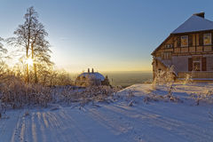 Snow covered landscape in the sunset Stock Photography