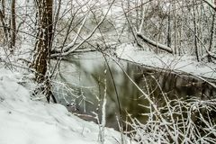 Snow covered landscapes in belmont north carolina along catawba. River Royalty Free Stock Photography