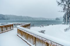 Snow covered landscapes in belmont north carolina along catawba. River Stock Photos