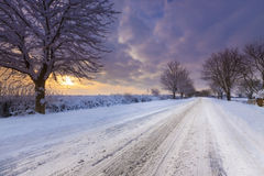 Snow covered lane in Oxfordshire Stock Images