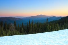 From the snow covered lawn opens a view of green fir trees, high mountains with snow covered tops, sunset, blue sky. From the snow covered lawn opens a view of Stock Image