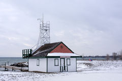 Snow covered Leuty Lifeguard Station at beaches Toronto in winter Stock Photos
