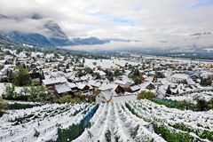 Snow covered Liechtenstein city Stock Photos