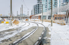Snow Covered Light Rail Tracks Royalty Free Stock Photo