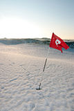 Snow Covered Links Golf Course Breezy Red Flag Stock Photo