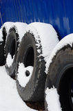 Snow-covered Lorry Tires Stock Photos